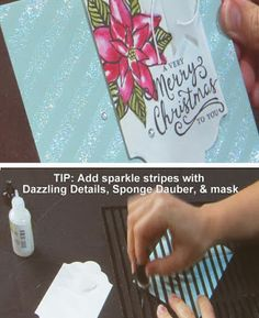 Stampin' Up! Tip: Use Dazzling Details & a Sponge Dauber to create a sparkly stripe background with the Dots & Stripes Mask #stampinup