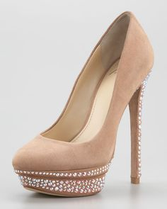 B Brian Atwood - Francoise Crystal-Detail Suede Platform Pump $395