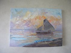 SAILING, SUNSET bright, textured, dramatic, seascape, ocean, boats, orange, blue, violet, New Zealand art, signed, wall art, home decor, sea by KareNZGallery on Etsy