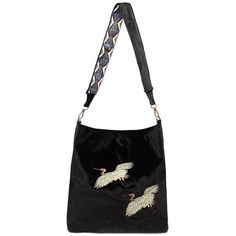 Yoins Black Velvet Animal Embroidery Across Body Bag ($29) ❤ liked on Polyvore featuring bags, handbags, shoulder bags, black, cross body, embroidered handbags, animal purse, crossbody purses and crossbody handbags