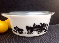 Great vintage Pyrex dish with Iconic and Rare Haymaker Very good condition as from 1967 Depth 4 inches Has original lid with tiny nip in the glass JAJ English Pyrex Happy to post worldwide but please contact me as price listed is best guess only and depends on location. Thanks for looking
