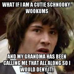 "Conspiracy Keanu ""cutie schnooky-wookums"" meme."