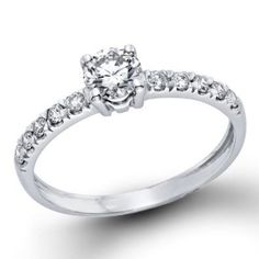 1/2 ctw. Certified GIA Round Diamond Solitaire Engagement Ring in 14k White Gold (E Color, VS2 Clarity)