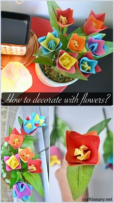 Ideas on how to decorate with paper tulips at home and garden. A neat project so simple to make with paper flowers, moss, foam and pot or hanging basket. Tulips Flowers, Flower Vases, Flower Pots, Flower Arrangements, Marker Crafts, Tissue Paper Crafts, How To Make Paper Flowers, Floral Foam, Spring Activities