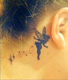 Women Neck Angel Tattoos, Angel Tattoo On Women Neck, Women Neck Angel Designs, Angels Design Tattoo On Women Ear