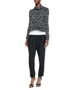 -5K43 Eileen Fisher Crimp Twist Box Top, Organic Cotton Slim Tank & Slouchy Jersey Ankle Pants