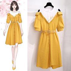 Simple Kurti Designs, Stylish Dress Designs, Stylish Dresses, Stylish Outfits, Cute Dresses, Fashion Drawing Dresses, Fashion Illustration Dresses, Fashion Dresses, Dress Design Sketches