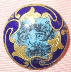 Rare & Exquisite Antique French Cobalt Blue Enamel Button w Emaux Peints Cat #France