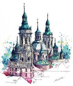 3,426 отметок «Нравится», 58 комментариев — watercolor@horiaki2 (@horiaki2) в Instagram: «スペイン・サラゴサ・聖母ピラール教会 -- Pilar Cathedral , Zaragoza , Spain  ➡️Please visit my website (→profile)…»