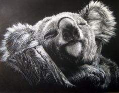 SCRATCHBOARD ART IS WHERE THE ARTIST USES KNIVES AND OTHER SHARP TOOLS TO DO THEIR ART