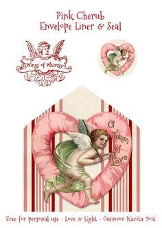 Wings of Whimsy: Pink Cherub Envelope Liner #freebie #vintage #valentine #printable #stripes #envelope #liner