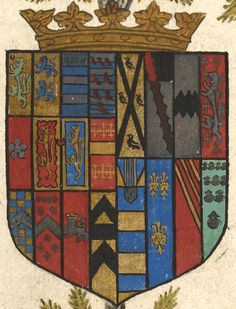 Coat of arms of Robert Dudley, Earl of Leicester (f°17v) -- Genelogies of the Erles of Lecestre and Chester, England, ca. 1572-1573 [Ms. Codex 1070 -http://hdl.library.upenn.edu/1017/d/medren/4218616]