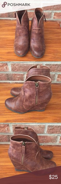 Qupid brown ankle boots size 8 like new Qupid brown ankle wedge boots like new size 8. Worn once. Smoke free pet free home. Qupid Shoes Ankle Boots & Booties