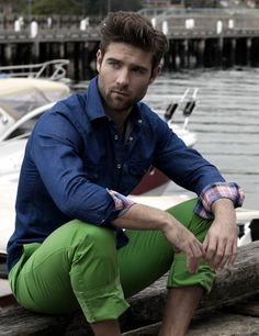 Green chinos. man he's gorgeous.