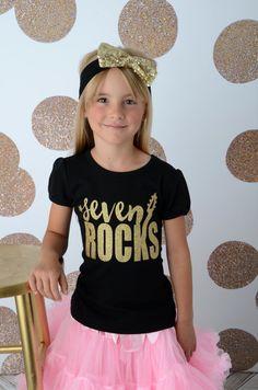 Seven Rocks Shirt, Girls Birthday Shirt, Birthday Rockstar Shirt, Birthday Girl, Girls Rock Star The Birthday Grrl ROCKS! Rockstar Birthday, 9th Birthday, Birthday Shirts, Birthday Party Themes, Girl Birthday, Birthday Ideas, Birthday Outfits, Simple Birthday Message, Pop Star Party