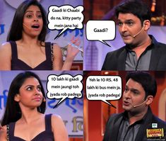 """Kapil Sharma's nagging onscreen wife Sumona Chakravarti, from the popular TV show """"Comedy Nights with Kapil"""", is reportedly dating actor Gaurav Chopra. Description from fireworksevents.net. I searched for this on bing.com/images Funny Asian Memes, Super Funny Memes, Very Funny Jokes, Crazy Funny Memes, Really Funny Memes, Funniest Jokes, Hilarious, Funny Science Jokes, Funny Fun Facts"""