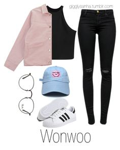 """How they would dress as girls // Wonwoo"" by suga-infires ❤ liked on Polyvore featuring J Brand, Chicnova Fashion, Ray-Ban and adidas"