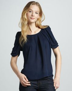 6aef3c6e1c11cc Eleanor Gathered Silk Blouse by Joie at Neiman Marcus. Short Sleeve Blouse