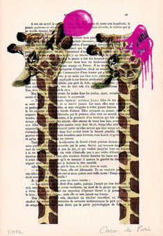 Drawing Illustration Giclee Prints Posters Mixed Media Art Acrylic Painting Holiday Decor Gifts:  Giraffe with bubblegum. $12.00, via Etsy.