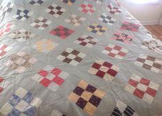 1800s Handmade Antique Four Patch Quilt Top 74 x 80