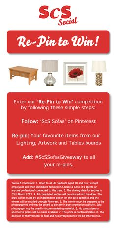 Enter our latest ScS Sofas competition to win your favourite ScS accessory!  Simply follow us, and then re-pin your favourite items from our Tables, Lighting or Artwork boards.  Competition ends at midnight on the 25th March 2013. Good luck!