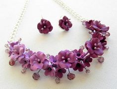 Ombre violet jewelry - Polymer jewelry - Violet necklace and earrings -Handmade jewelry by insoujewelry on Etsy https://www.etsy.com/listing/166415927/ombre-violet-jewelry-polymer-jewelry