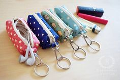 100 FABRICS CHOICE Chapstick keychain, Chapstick cozy, Chapstick holder, Lip Balm Cozy , Lipstick Case Zipper Key Chain, Lip Balm Holder______I NEED THIS!!!!!!! I can never find my chapstick and I always have my keys with me!  I like the green hedgehog fabric!