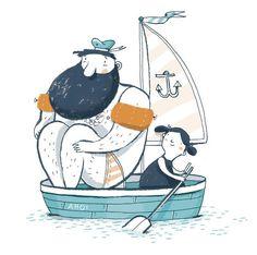'Ahoi' - by Ina Hattenhauer -- (sailboat, sea, ocean, kids, illustration) Art And Illustration, Illustration Design Graphique, Character Illustration, Illustrations Posters, Illustration Children, Art Watercolor, Oeuvre D'art, Art Drawings, Artsy