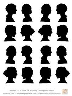 Female Face Silhouette Stencils,Face Silhouette Collection of Stencil Templates Silhouette Cameo, Tree Silhouette, Woman Silhouette, Free Stencils, Stencil Templates, Making Stencils, Stencil Patterns, Face Template, Heritage Scrapbooking