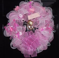 Deco Mesh Baby Girl Wreath by sayitwithawreathcom on Etsy, $75.00