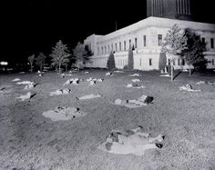 This photograph was taken in Lincoln, Nebraska on the night of July 25, 1936 when the minimum temperature fell to only 91°F in Lincoln. This was the hottest night ever experienced anywhere in United States recorded history outside of the desert Southwest. As the day progressed the temperature rose to an all-time record of 115°F in Lincoln; without air-conditioning, people spent the night sleeping on the lawn of the state capital building in Lincoln.