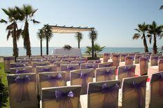 Purple beach wedding in Spain.