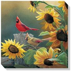 "Shop American Expedition for Rustic Cabin Decor | This ""Sunny Side Up (Cardinals)"" Wrapped Canvas Art is a wonderful piece of wall decor for the bird lover!"