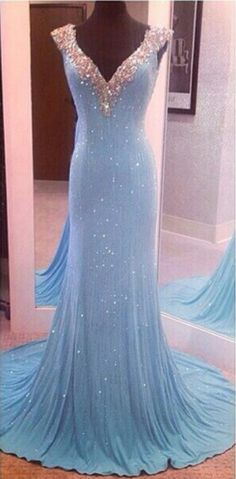 sequins prom dress, long prom dress, blue #prom #promdress #dress #eveningdress #evening #fashion #love #shopping #art #dress #women #mermaid #SEXY #SexyGirl #PromDresses