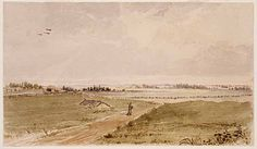 The Prairie Back of Fort Snelling  Painter: Seth Eastman (1808-1875)   Art Collection, Watercolor 1846-1848   Location no. AV1991.85.1   Negative no. 12699  Minnesota Historical Society