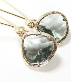 beautiful grey and gold drop earrings