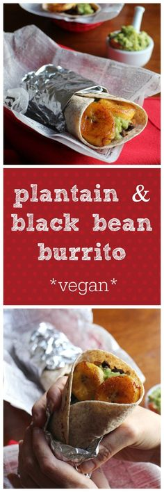 black bean burritos with plantains Plantain & black bean burritos - A savory and sweet dinner that's easy to make but feels like an indulgence. Vegan Mexican Recipes, Vegetarian Recipes, Healthy Recipes, Easy Vegan Meals, Easy Vegan Dinner, Vegan Foods, Vegan Dishes, Sweet Fried Plantains, Whole Food Recipes