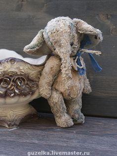 """Купить Слоник """"Тодор"""" - слоник, слон, друзья тедди, Гузель Костына, серый, слоник ретро"""