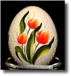 orange tulips painted on egg
