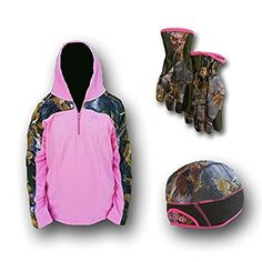 #Women's #Camo Winter Bundle-3 Items: One Pink Camo Beanie One Pair Stretch Fleece Gloves and One 2 Tone Hoodie