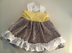 Toddler Girl Yellow and Gray Ruffle Apron Dress/Top by Chicklettes