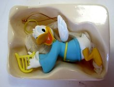 "Disney Christmas Ornament Donald Duck with Wings Harp 3.5"" with Box"