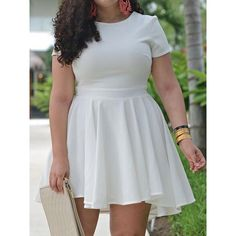 Choies White Ruffle Chiffon Plus Size Skater Dress ($20) ❤ liked on Polyvore featuring dresses