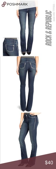 Rock & Republic® Kassandra Faded Bootcut Jeans 14M Rock & Republic® Kassandra Faded Bootcut Jeans - Women's 14M PRODUCT FEATURES Faded details Contrast stitching Stretchy denim construction 5-pocket FIT & SIZING 34-in. inseam Low rise sits on the hip Bootcut flares slightly at the knee Zipper fly FABRIC & CARE Cotton, rayon, polyester, spandex Machine wash Imported Rock & Republic Jeans Boot Cut