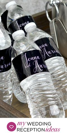Summer Wedding Reception Decor - Personalized water bottle labels for bottled water at your wedding water station. Monogram Water Bottle, Personalized Water Bottle Labels, Personalized Labels, Personalized Wedding, Wedding Reception Decorations, Wedding Ideas, Bottled Water, Monogram Wedding, Summer Wedding
