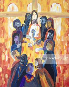 Last Supper Painting Jesus Art Abstract Christian by TracyHallArt