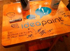 IdeaPaint Clear - Turn any surface into a dry erase board without needing it to be white. Now available at lowes! This would be a great alternative to chalkboard paint or buying a dry erase board. Home Projects, Craft Projects, Projects To Try, Craft Ideas, Do It Yourself Furniture, Do It Yourself Home, Classroom Organization, Classroom Decor, Classroom Design
