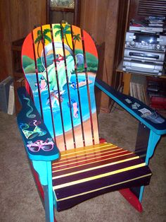 Let's Get Drunk and Paint Adirondack Chairs, Unique , Hand painted