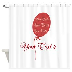 Custom Bright Red Party Balloon Shower Curtain #red #balloon #personalized #showercurtain