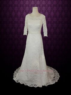 Vintage Modest Lace Wedding Dresss with Long Sleeves | Lace Slim A-line Wedding Dress | Rebecca